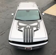 Dodge Challenger Satin Black Hood Skull Wrap Decal Graphic