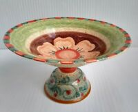 Italian Ceramic Pedestal Footed Fruit Bowl Centerpiece Handpainted Speckled 12""