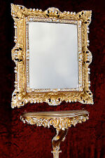 Wandspiegel mit Ablage Konsole  Gold Weiß 45x37cm Barock Antik Ornament Vintage