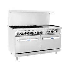 New 60 Range 6 Open Burner 24 Flat Top Plancha Griddle Amp Double Gas Oven Atosa