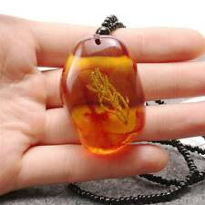 Autumn Imitation Amber Beeswax Pendant Sweater Chain Natural Fossil Necklace