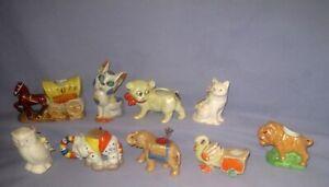 VTG/Antique Lot 9 ceramic pin cushions Cats/Elephants/Horse/Owl/Duck Japan!