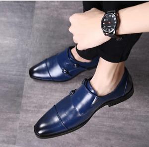 Handmade Men Blue Leather Double Monk Strap Shoes, Dress shoes for men