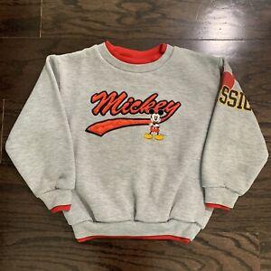 Vintage Walt Disney Mickey Mouse Embroidered Youth Crewneck Sweatshirt Size 4/5
