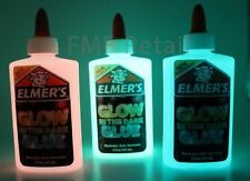 Elmers GLOW IN THE DARK Color Glitter Glue 3 Pack Blue Green Pink Great 4 Slime