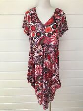 TAKING SHAPE Red Patterned Mesh Stretchy Summer Shirt Sleeve Dress - XXS / 12