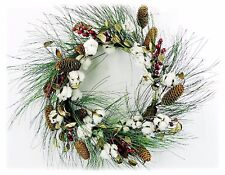 "Cotton Pod Wreath w/Red Berries Long Pine Cones Christmas 24"" NEW XW83013WR24"
