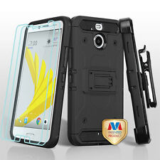 For HTC Bolt Hybrid Black Holster Impact Rugged Hard Clip Cover Case w/ Screen
