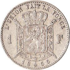 1866 Belgium 1 Franc Silver Coin KM#28.1