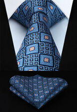 "Woven Men Tie Necktie Handkerchief Set TC710B8S Blue Plaids & Checks  3.4"" Silk"