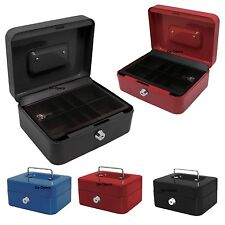 Cash Box Steel Money Bank Petty Deposit Tin Coin Security Safe With 2 Key & Tray