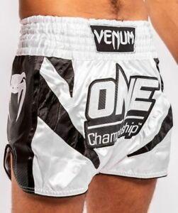 VENUM ONE FC IMPACT MUAY THAI BOXING SHORTS - WHITE/BLACK - 04110-539 L,XL sizes