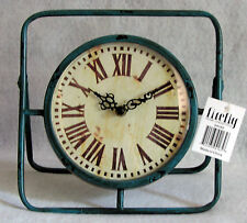 FIREFLY SQUARED LIGHT BLUEGREEN AGED DISTRESSED NAUTICAL METAL CLOCK