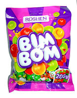 "Ukrainian Sweets ROSHEN Caramel Hard Candies ""Bim Bom"" Berry Filling 200g / 7 oz"