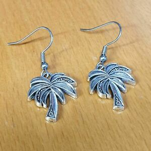 Hypoallergenic Surgical Steel Earrings with Large Palm Tree Charm Tibetan Silver