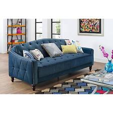Charming Novogratz Vintage Tufted Sofa Sleeper II Blue Bed Couch Futon Lounger Room  NEW