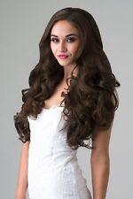 Long Wavy Brown 3/4 Wig Fall Hair Piece #8