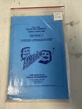 Ti-99/4a 4a/TALK 1985 Databiotics Original Manual NEW NOS RARE Terminal Emulator