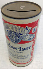 "Budweiser 6"" Paper Cardboard Beer Can Bank 3158 MDA Bar Beer Advertising VTG"
