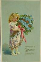"""""""Geburtstag, Kinder, Vergissmeinnicht, Kleeblatt"""" 1910, Golddruck ♥"""