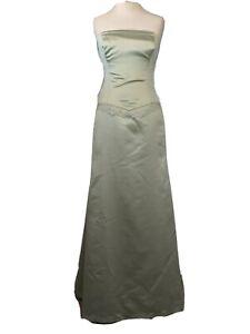 Vera Wang pale green full length satin strapless bridesmaid dress Size 10