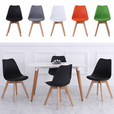 4pc Dining Chairs Faux Leather Padded Seat High Back Home Coffee Restaurant