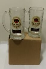 2 Bacardi Oakheart Spiced Rum Beer Mug Drinking Stein 12 oz Rippled Glasses