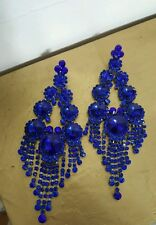 Bridal chandelier Royal Blue rhinestone post earrings drag queen beauty pageant