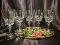 """Cris D' Arques Durand Crystal """"Chantelle"""" Wine / Water Glass Goblet ~ Set Of 5"""