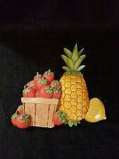 Vtg Mcm Kitchen Wall Hanging Plaque Home Decor 7351 Homco Strawberries Pineapple
