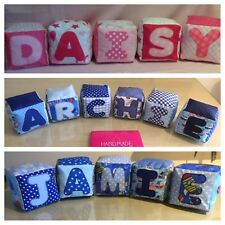 Handmade Personalised Fabric Name Cubes Nursery Decor Baby Shower Gift Discount