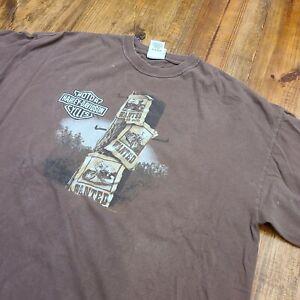 Carolina Coast Wilmington NC Harley Davidson Brown T-Shirt Men 2XL - Distressed