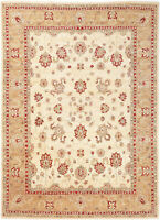 9X12 Hand-Knotted Oushak Carpet Traditional Ivory Fine Wool Area Rug D11086