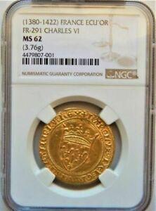 1380 - 1422 France Gold ECU'OR FR - 291 CHARLES VI 3.76g NGC MS 62