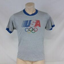 Vintage 1984 Levis T Shirt Olympic Games Ringer Tee 80s Heathered USA Large