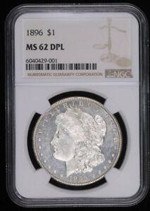 1896 MORGAN SILVER DOLLAR COIN NGC MS62 DPL DMPL