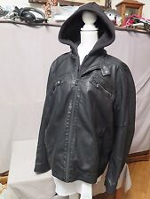 ROCK & REPUBLIC Men's Motorcycle Jacket Faux Leather Hooded Moto XL New W/T