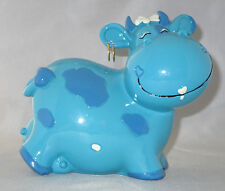 Cow Bank Blue Hearts Earrings Udder Farm Animals Bow New Savings Coins