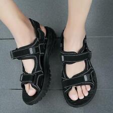Summer Mens Leather Trekking Sandals Open Toe Flats Beach Shoes Outdoor Casual