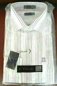 J. Ferrar Men's Dress Shirt  Size16 1/2 White - Gray Striped