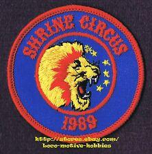 "LMH PATCH Badge 1989 SHRINE CIRCUS Shriners ROARING LION Lion's Head Mane 3-1/8"""