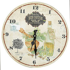 Rustic Country Style Shabby Chic Olive Oil Kitchen Wall Clock - NEW