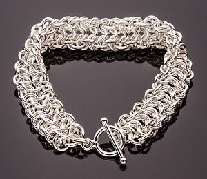Vipera Berus Chain Maille Bracelet Artisan Crafted 925 Sterling Silver Pick Size