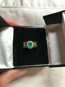Beautiful Emerald and Diamond 14kt YG ring