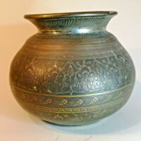 Vintage brass planter plant pot bowl etched flowers pyramids African Indian