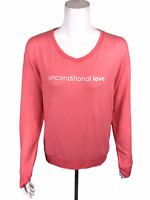 Peace Love World V-Neck Comfy Knit Top with Affirmation Calypso Coral Small Size