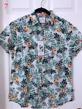 Mens Denim&Flower Small/Medium/Large/XL Slim Fit Button Front Short Sleeve Shirt