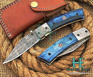 HUNTEX Custom Handmade Damascus 110mm Long Dyed Camel Bone Hunting Pocket Knife