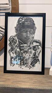 Wayne Gretzky Sports Drawing Framed 18x12