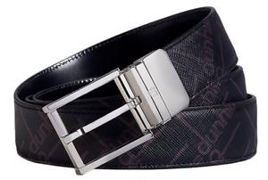 Mens Dunhill Black Belt Genuine Black Leather Size 42 in Box Logo Print NEW